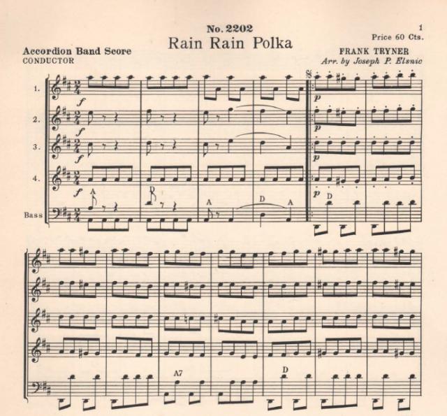 "Accordion Sheet Music /""RAIN-RAIN POLKA/"" Elsnic Arranged by Joseph P"